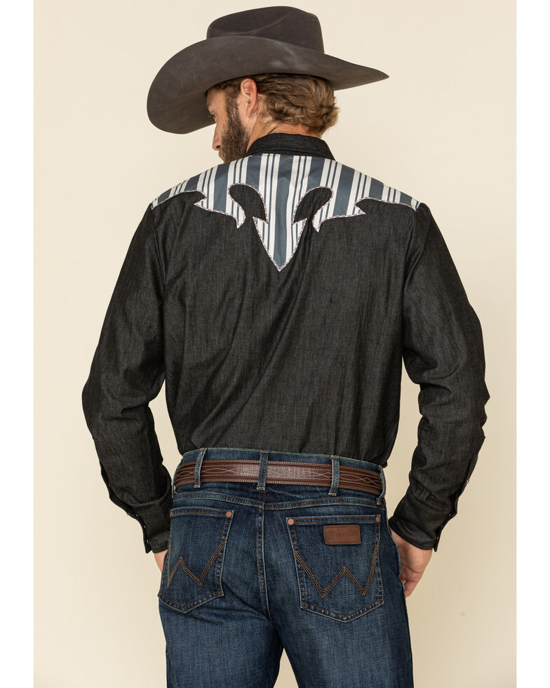 H Barc Ranchwear Navy Striped Yolk Long Sleeve Western Shirt , Navy, hi-res