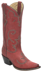 Corral Red Cowhide Cowgirl Boots - Snip Toe, Red, hi-res