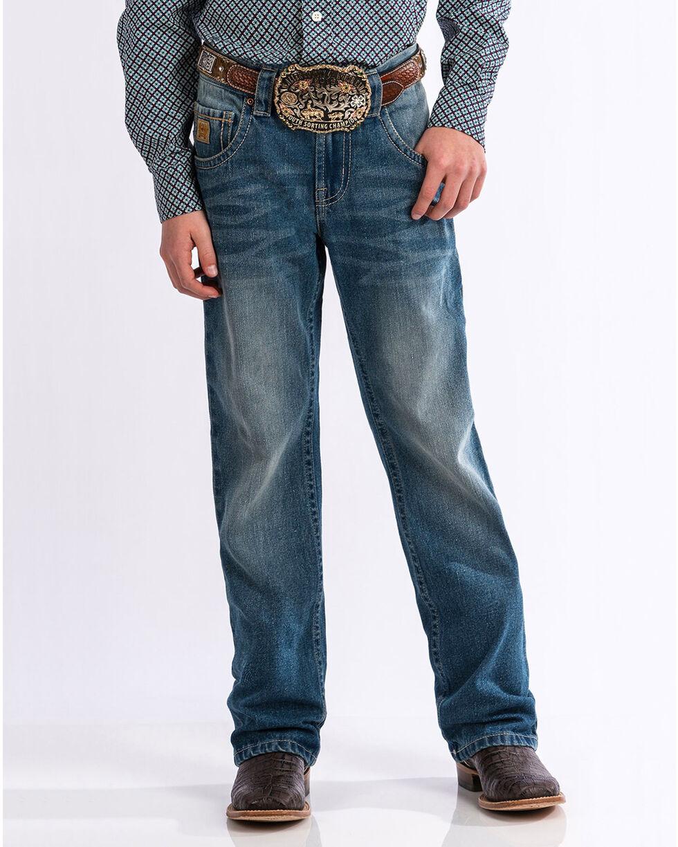 Cinch Boys' Medium Stonewash Relaxed Fit Boot Cut Jeans (4-7), Indigo, hi-res