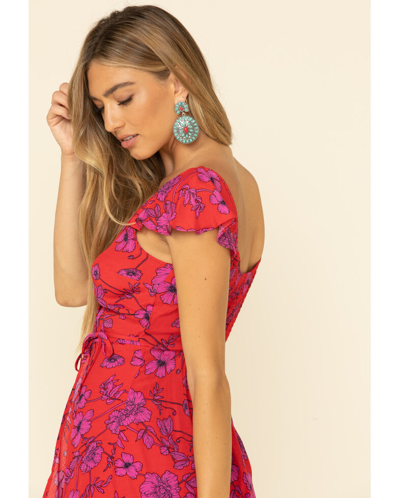 Band of Gypsies Women's Red Floral Dress, Red, hi-res