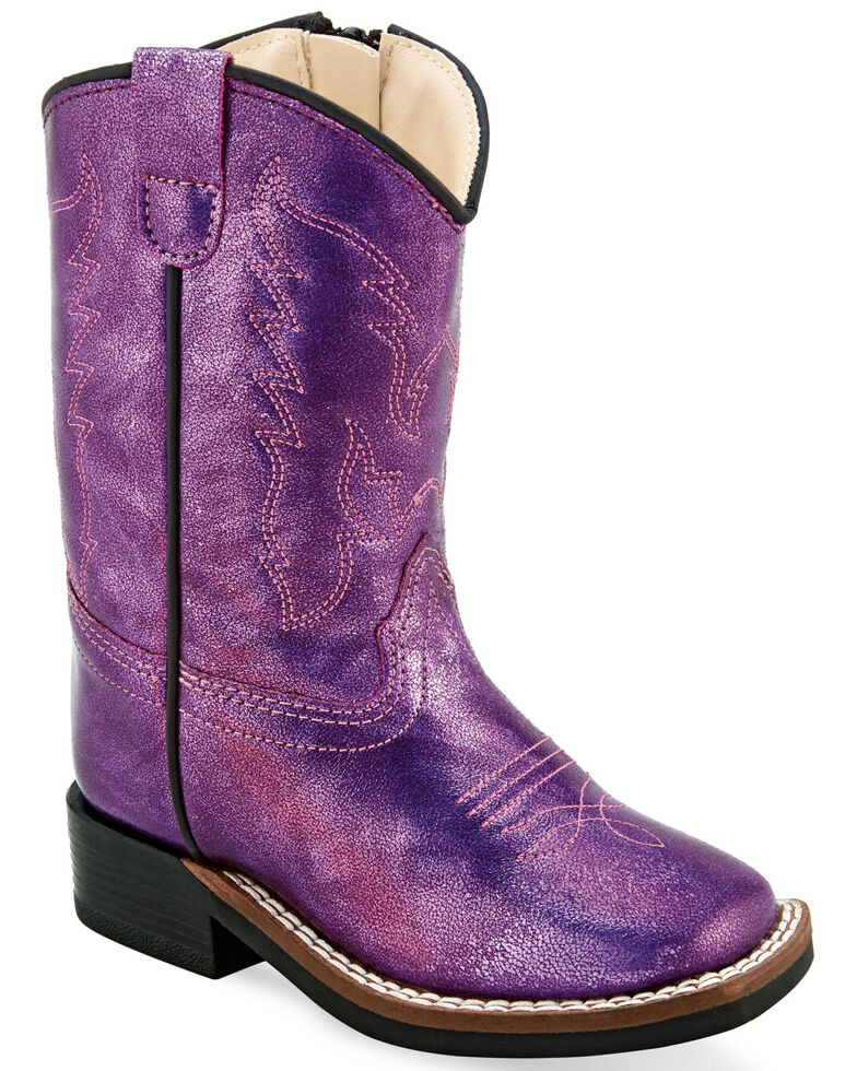Old West Toddler Girls' Metallic Pink Western Boots  - Wide Square Toe , Pink, hi-res