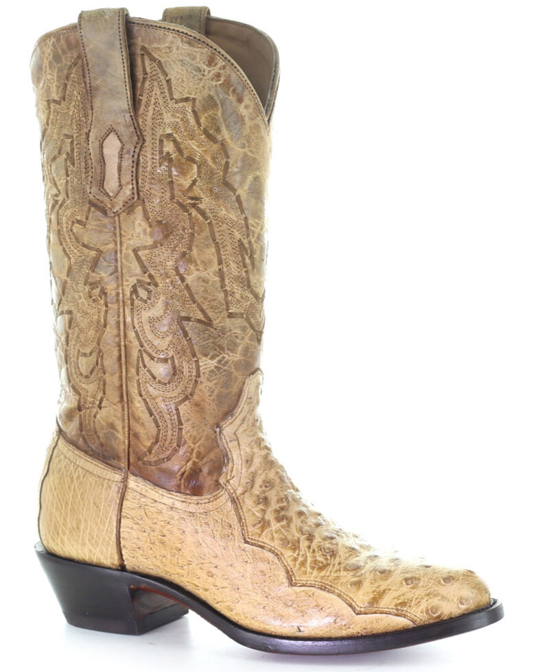 Corral Men's Ostrich Embroidery Western Boots - Round Toe, Ivory, hi-res