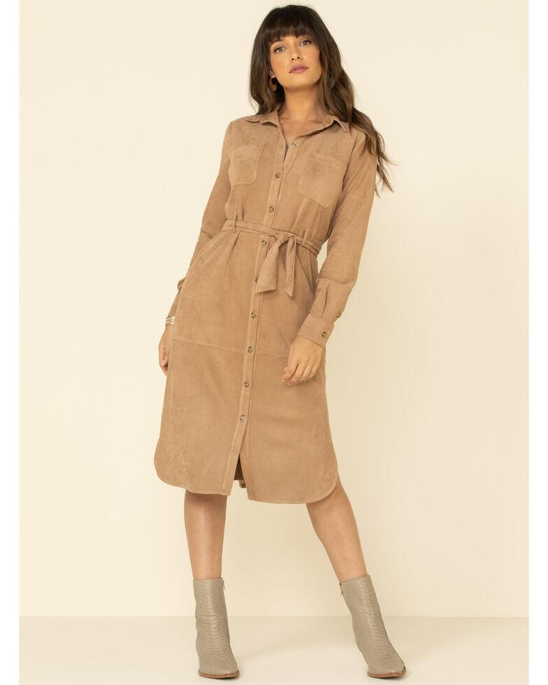 Miss Me Women's Tan Faux Suede Button Shirt Dress, Tan, hi-res