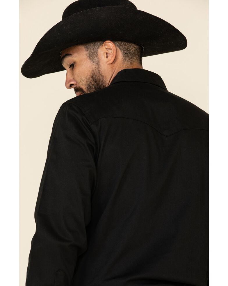 Wrangler Men's Solid Advanced Comfort Long Sleeve Work Shirt, Black, hi-res
