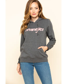 Wrangler Women's Charcoal Chenille Logo Hoodie, Charcoal, hi-res
