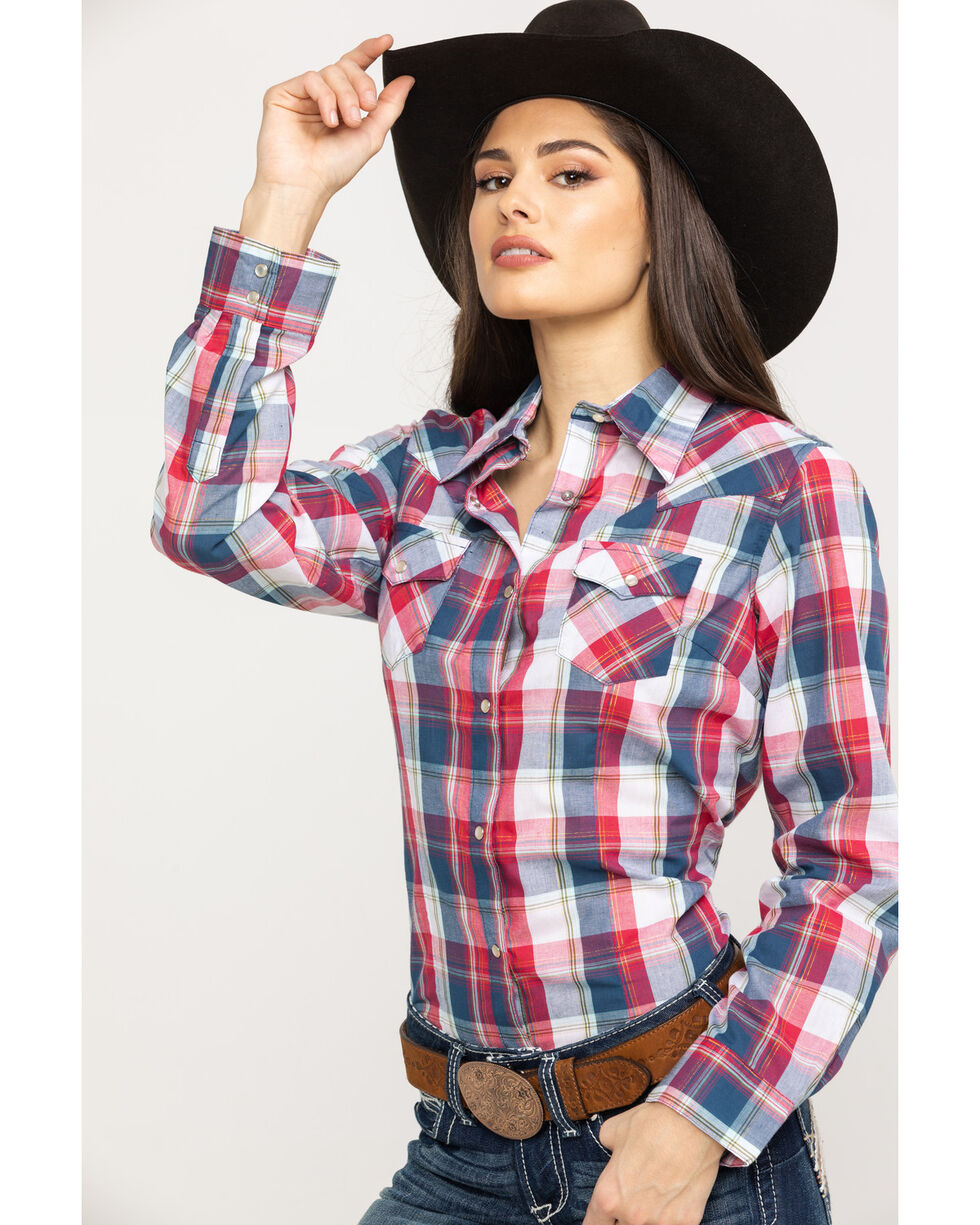 Wrangler Women's Multi Color Lurex Plaid Long Sleeve Western Shirt , Red/white/blue, hi-res