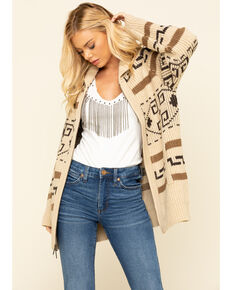 Pendleton Women's Tan Long Westerley Cardigan , Tan, hi-res