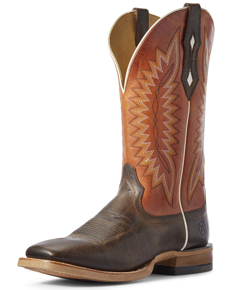 Ariat Men's Record Setter Western Boots - Wide Square Toe, Brown, hi-res