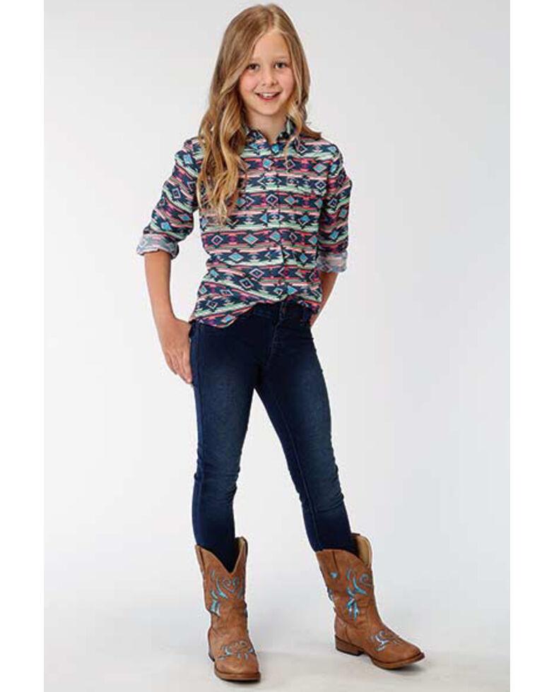 Five Star Girls' Multi Aztec Snap Long Sleeve Western Shirt, Multi, hi-res