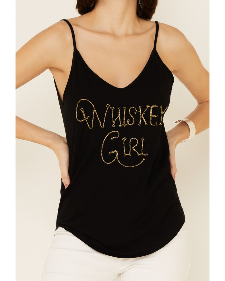 Shyanne Women's Whiskey Girl Graphic Suede Cami Top , Black, hi-res