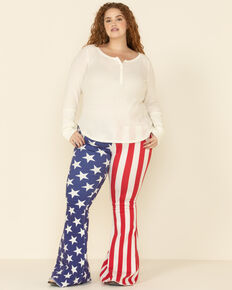 Ranch Dress'n Women's American Flag Super Flare Jeans - Plus, Multi, hi-res