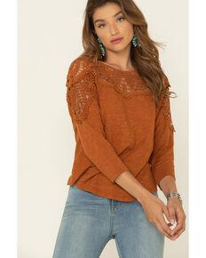 Eyeshadow Women's Cognac Crochet Long Sleeve Peasant Top , Cognac, hi-res