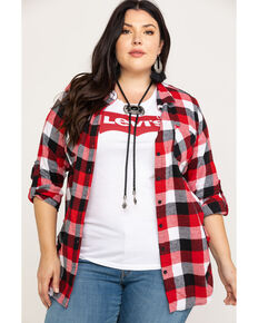 c14d4952eda4 Derek Heart Women's Cotton Flannel Plaid Tab Sleeve Shirt - Plus
