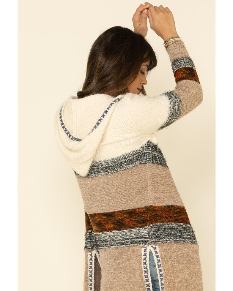 Nostalgia Women's Ivory Color Blocked Striped Hooded Fuzzy Cardigan , Ivory, hi-res