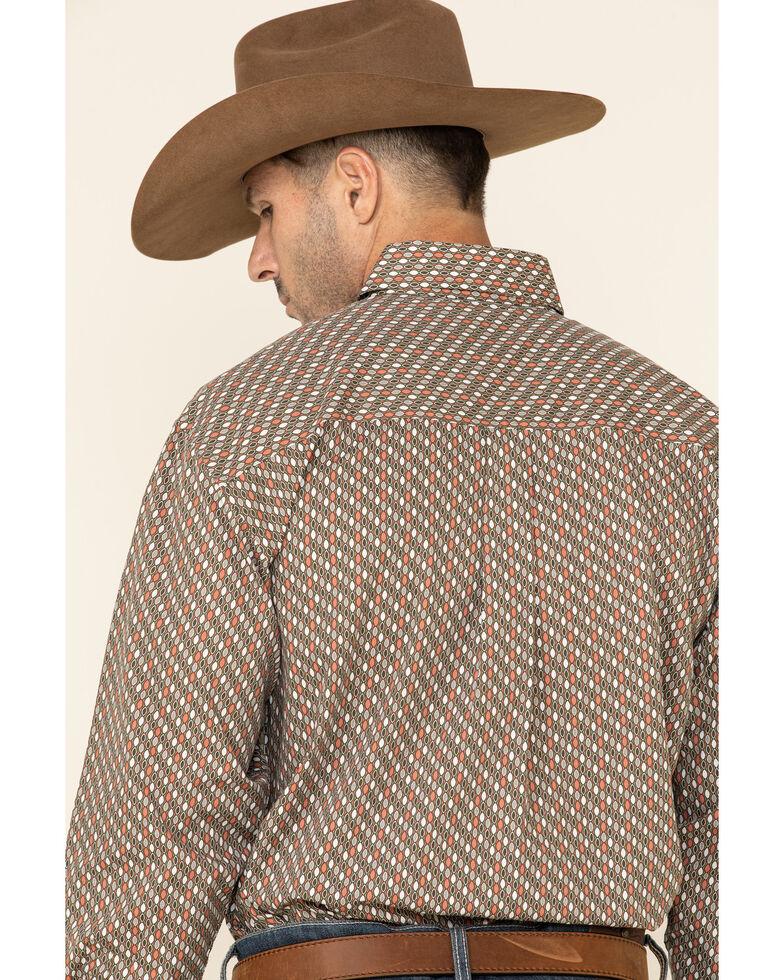 George Strait By Wrangler Brown Geo Print Long Sleeve Western Shirt , Brown, hi-res