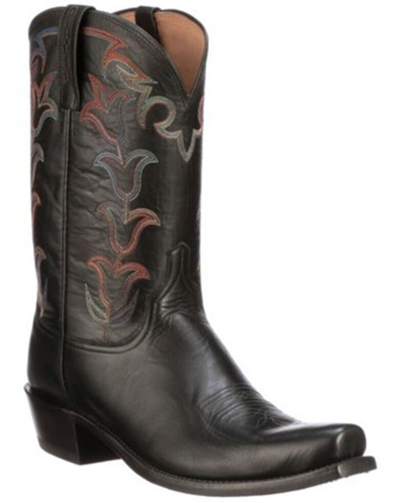 Lucchese Men's Black Tulip Western Boots - Square Toe, Black, hi-res