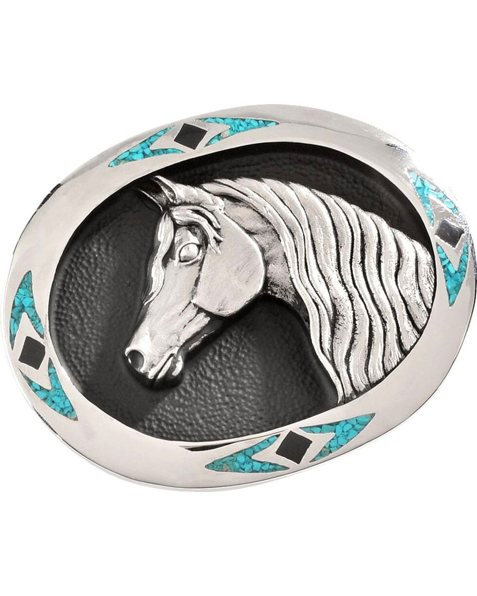 Horsehead with Stone Inlay Belt Buckle, Multi, hi-res