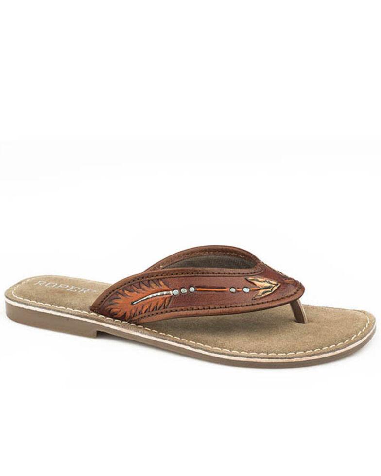 Roper Women's Tan Tooled Arrow Sandals, Tan, hi-res