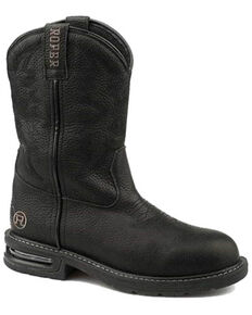 Roper Men's Worker Balck Western Boots - Square Toe, Black, hi-res