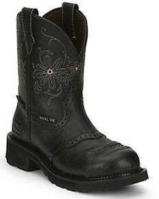 Justin Women's Wanette Western Work Boots - Steel Toe, Black, hi-res