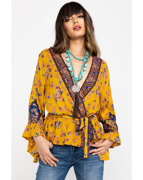 Nostalgia Women's Yellow Floral Print Surplice Bell Sleeve Top, Dark Yellow, hi-res