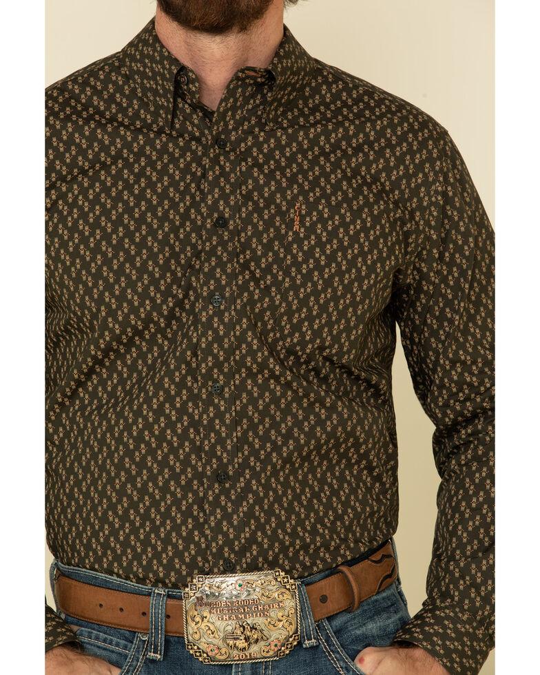 Cinch Men's Modern Fit Charcoal Geo Print Long Sleeve Western Shirt , Charcoal, hi-res