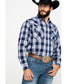 Ely Cattleman Men's Textured Large Plaid Long Sleeve Western Shirt - Tall , Multi, hi-res