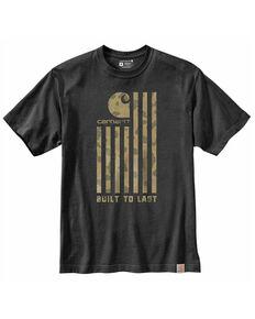 Carhartt Men's Heather Charcoal Flag Graphic Short Sleeve Work T-Shirt , Heather Grey, hi-res
