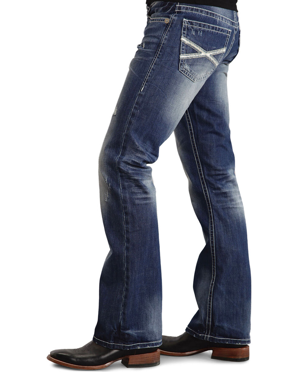 Stetson Rock Fit Bold X Stitched Jeans - Big & Tall, Med Wash, hi-res