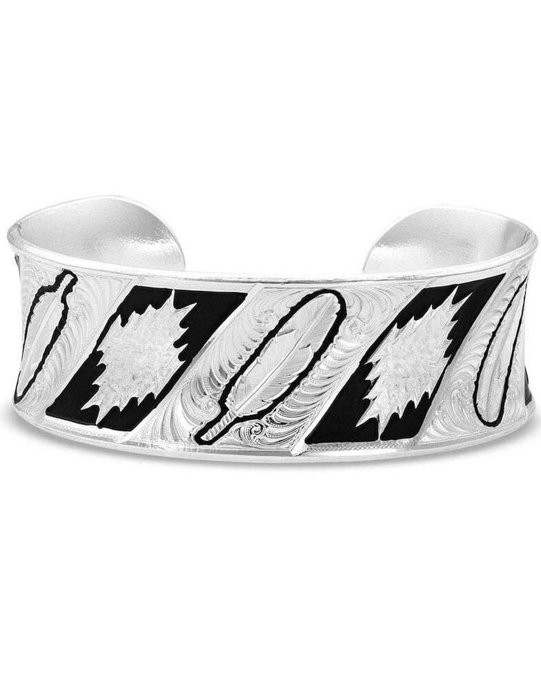 Montana Silversmiths Women's Be Fearless Feather Pattern Cuff Bracelet, Silver, hi-res