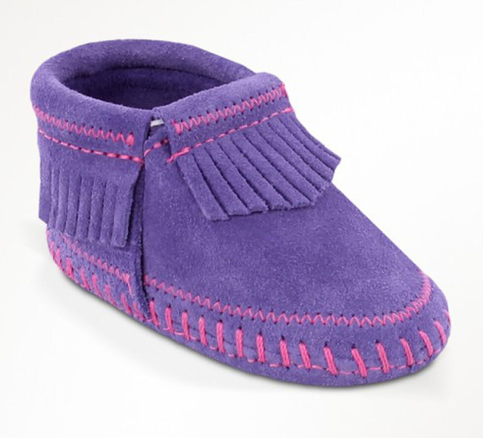 Minnetonka Infant Girls' Riley Moccasin Booties, Purple, hi-res