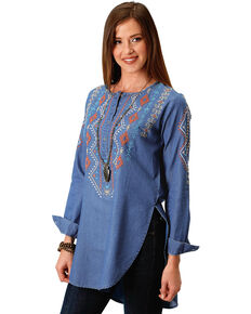 Roper Women's Aztec Embroidered Henley Tunic, Indigo, hi-res