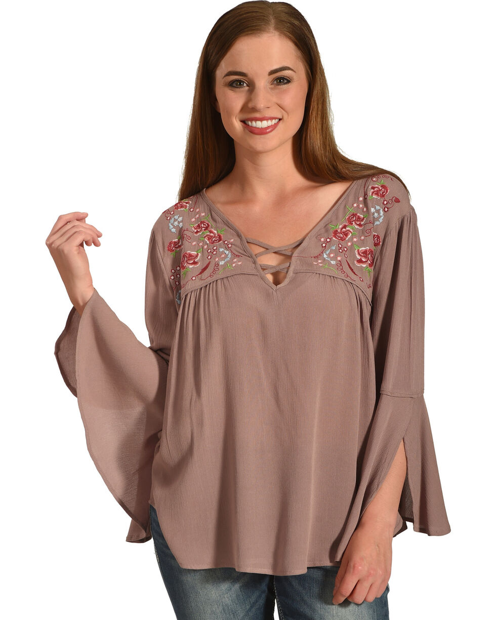Miss Me Women's Dusty Pink 3/4 Sleeve Embroidered Top , Pink, hi-res