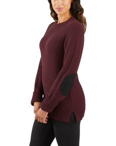 Carhartt Women's Fudge Heather Crewneck Sweater, Dark Brown, hi-res