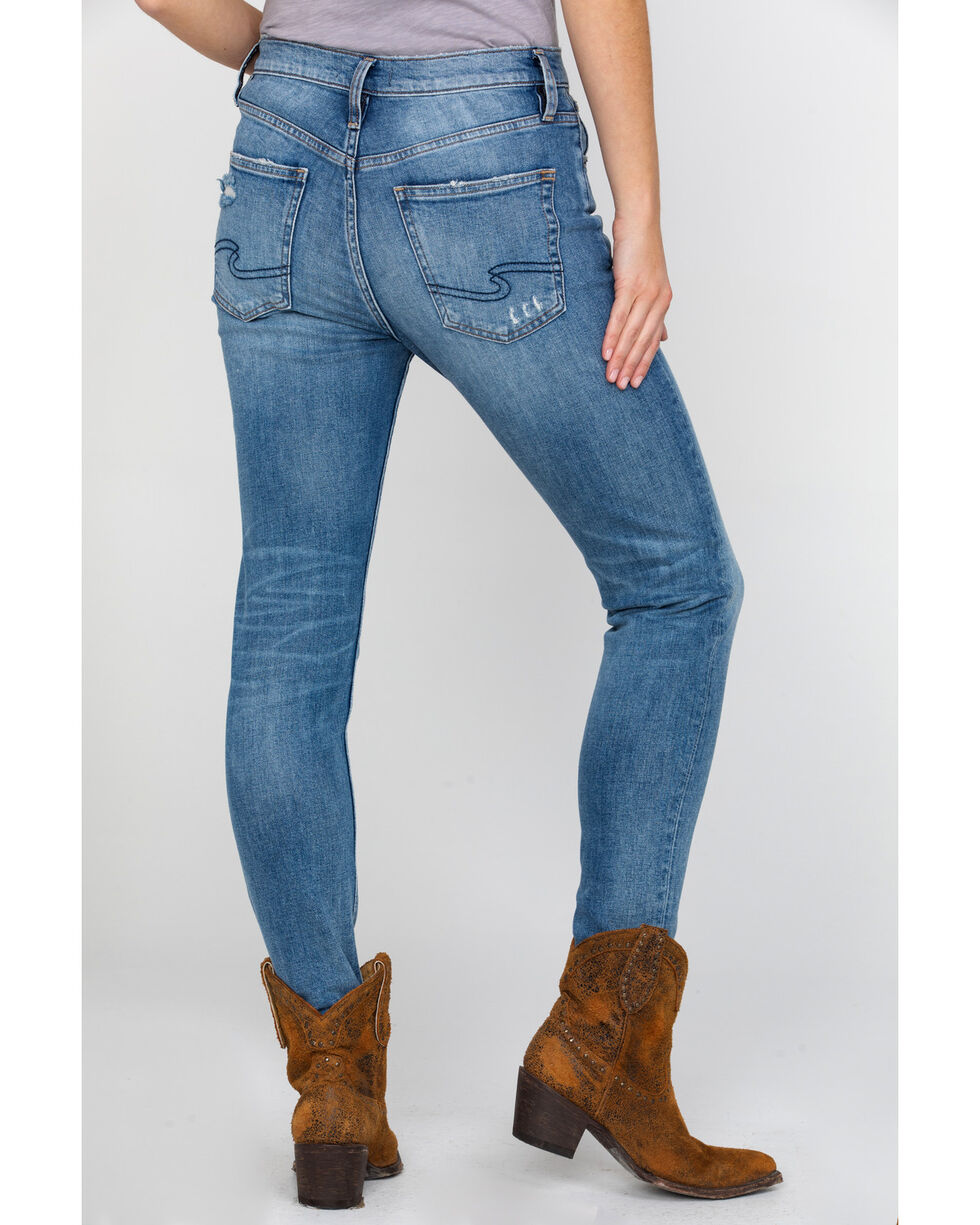 Silver Women's Frisco High Rise Tapered Jeans , Indigo, hi-res