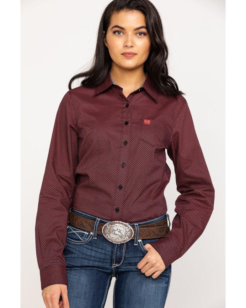 Cinch Women's Geo Print Button Long Sleeve Western Shirt, Multi, hi-res
