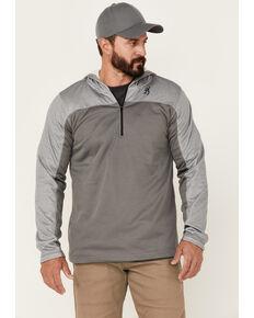 Browning Men's Grey Hayes 1/4 Zip Front Hooded Pullover , Grey, hi-res