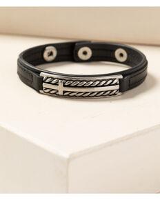 Moonshine Spirit Men's Leather Roped Cross Snap Bracelet, Black, hi-res