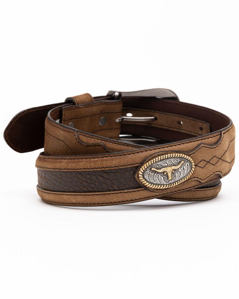 Cody James Men's Longhorn Croc Inlay Western Belt, Brown, hi-res