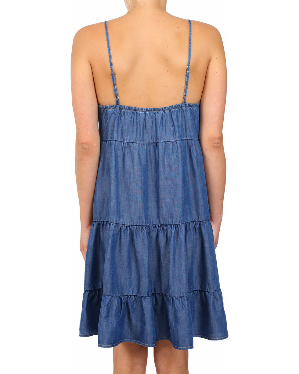 Glam Women's Bahia Tencel Tiered Spaghetti Strap Dress , Medium Blue, hi-res