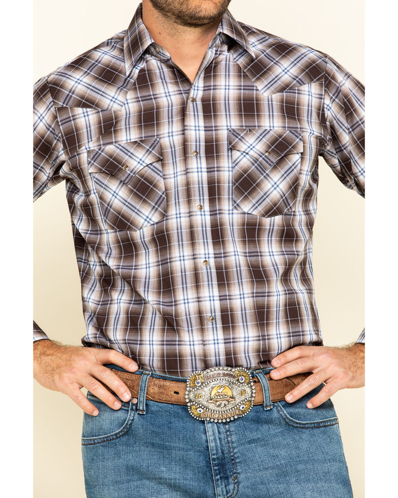 Ely Cattleman Men's Brown Med Plaid Long Sleeve Western Shirt - Tall , Brown, hi-res