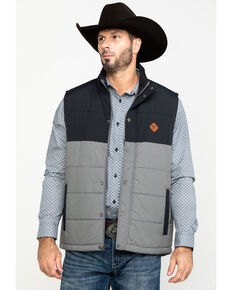 Cinch Men's Black Color Blocked Quilted Vest , Black, hi-res