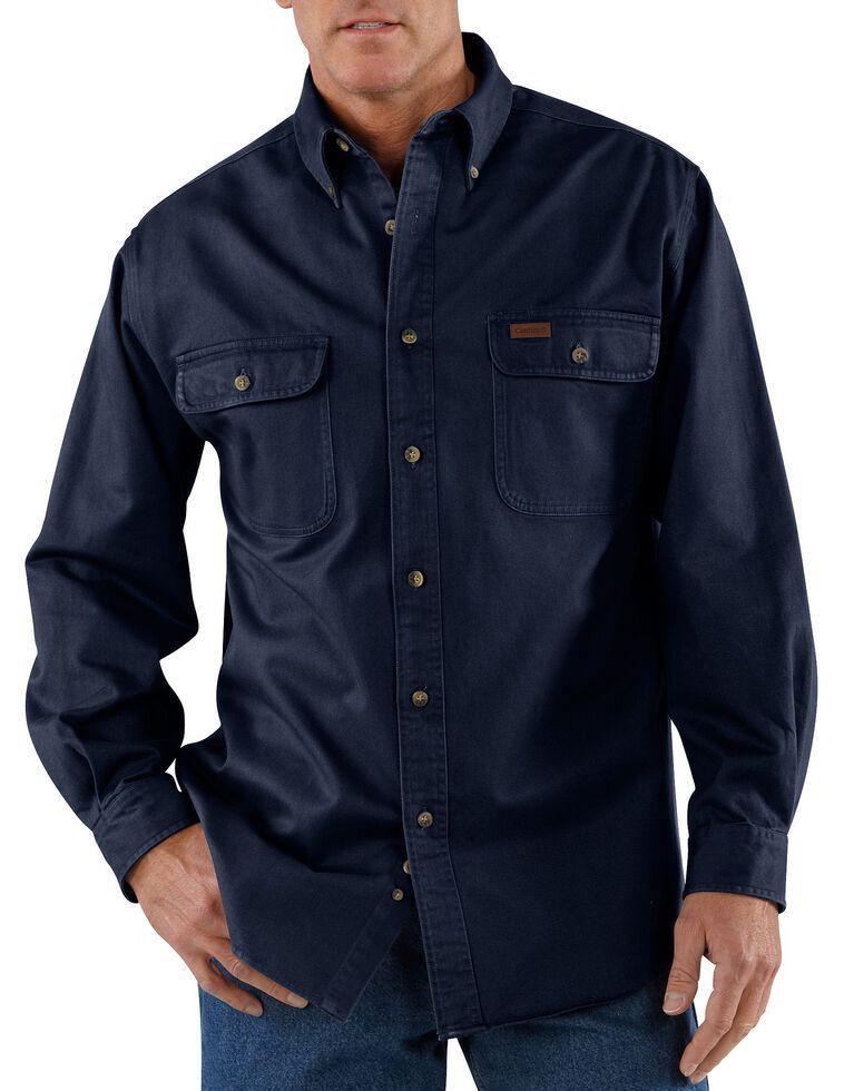 Carhartt Sandstone Twill Work Shirt - Big & Tall, Midnight, hi-res