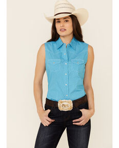 Ely Walker Women's Turquoise Ditzy Geo Print Sleeveless Snap Western Shirt  , Turquoise, hi-res