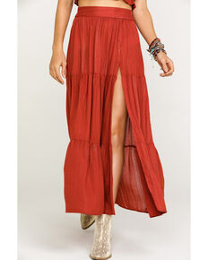 Angie Women's Solid Split Maxi Skirt, Rust Copper, hi-res