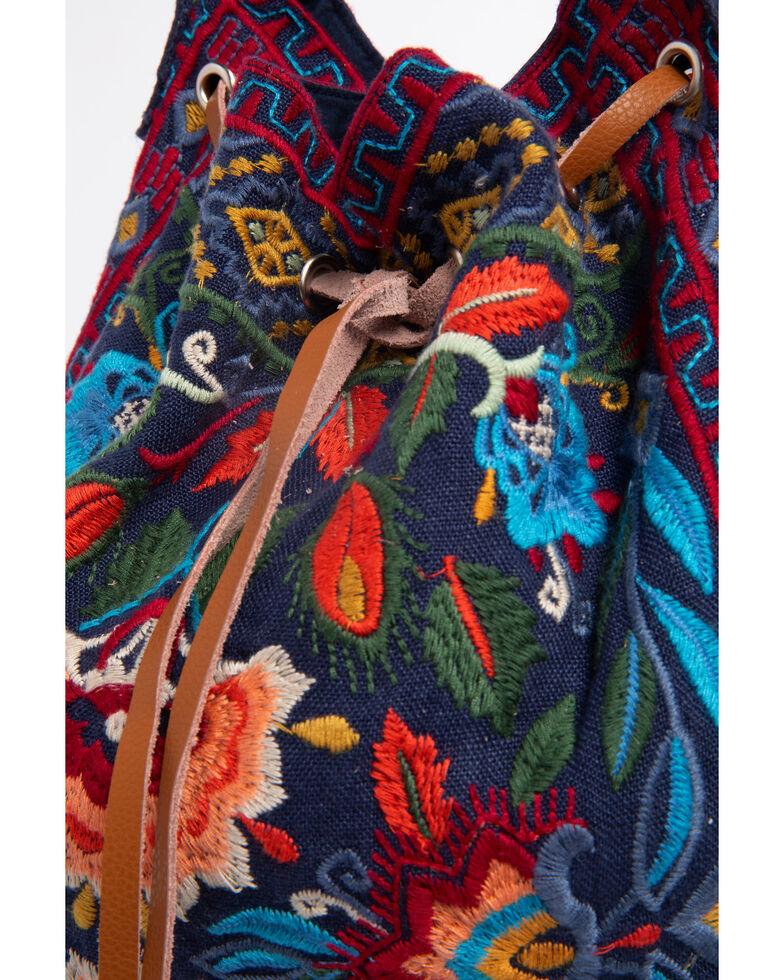 Johnny Was Women's Izamal Embroidered Drawstring Tote Bag , Navy, hi-res
