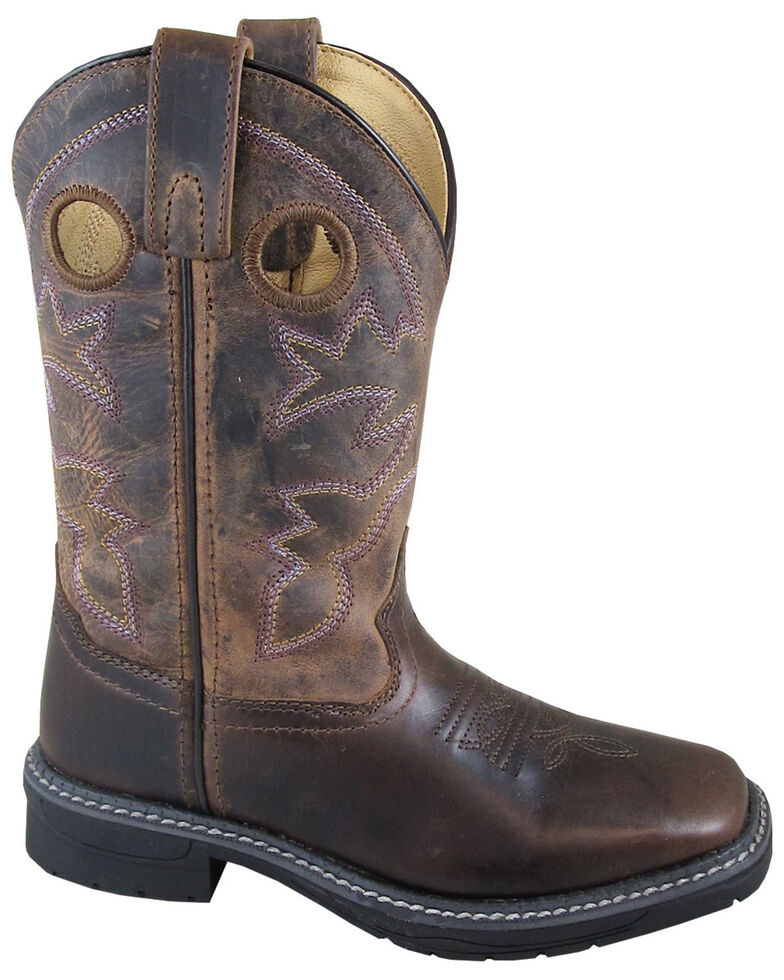 Smoky Mountain Boys' Waxed Stampede Western Boots - Square Toe, Brown, hi-res
