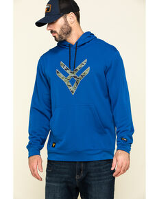 Hawx Men's Blue Tech Logo Hooded Work Sweatshirt , Blue, hi-res