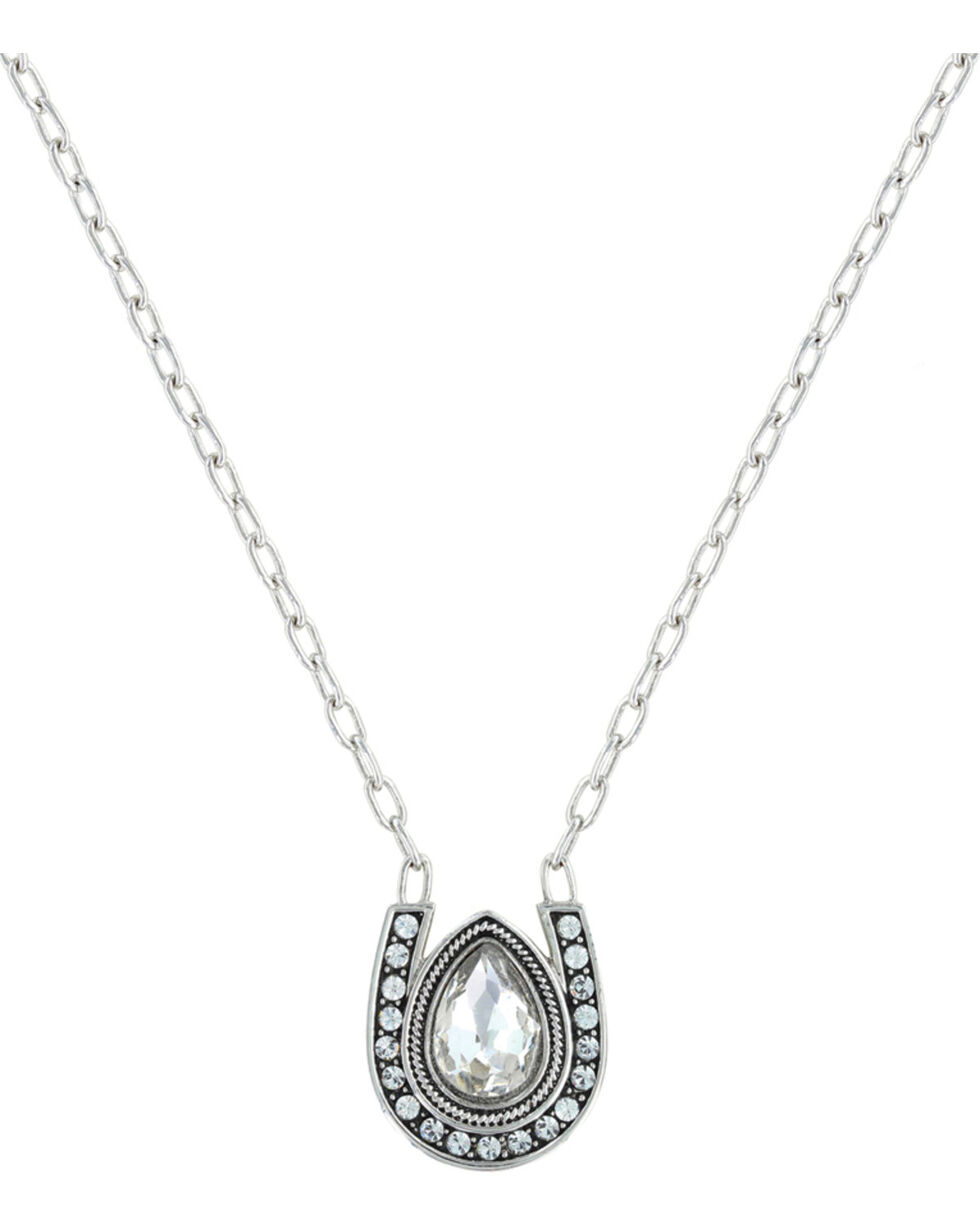 Montana Silversmiths Rider's Brilliant Raindrop Necklace, Silver, hi-res