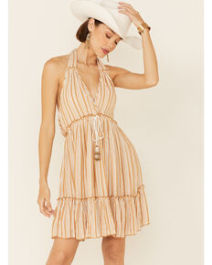 Band of Gypsies Women's Ivory Striped Open Back Dress, Ivory, hi-res